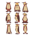 eagle owls birds set funny great horned owls vector image vector image