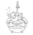 elephant taking a bath cartoon vector image vector image