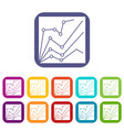 financial statistics icons set vector image vector image