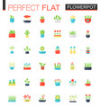 flat icons set house plants and flowers vector image vector image
