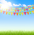 Green grass lawn with buntings clouds and sun on vector image vector image