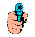 hand pointing with gun icon icon cartoon vector image