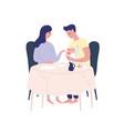 happy cartoon parents feeding newborn ba vector image vector image