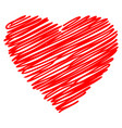 heart red hand drawn sketch vector image vector image