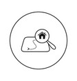 house on map under a magnifying glass vector image vector image