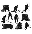ice hockey players black silhouettes vector image vector image