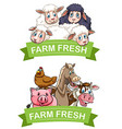 Label design with farm animals vector image