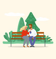 lovers sitting on bench and eating grapes vector image vector image