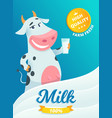 milk advertizing smiling cow standing with glass vector image