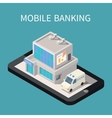 Mobile banking isometric building smartphone vector image vector image