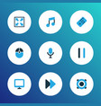 multimedia icons colored set with speaker pause vector image vector image