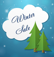 Paper applique fir tree and winter sale cloud vector image