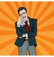 Pop Art Crying Businessman Wipes his Tears vector image vector image