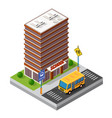 school isometric building study education vector image vector image