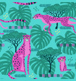 seamless pattern with cheetahs leopards in the vector image vector image