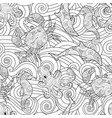 serene hand drawn outline seamless pattern with vector image vector image