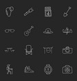Set of 16 editable camping icons includes symbols