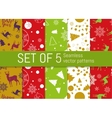 Set of 5 Christmas and New Year seamless pattern vector image vector image