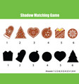 shadow matching game kids activity with new year vector image vector image