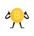shiny bitcoin character showing thumbs up crypto vector image vector image