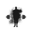 silhouette of bodybuilder and barbell vector image