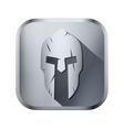 Square icon of Spartan helmet with scratches from vector image