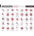 stationery red black flat line icon vector image vector image
