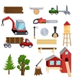 Timber industry icons set cartoon style vector image vector image