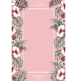 vertical tropical frame pink background vector image vector image