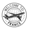welcome to france travel stamp vector image vector image