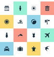 set of simple seaside icons vector image