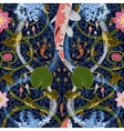 seamless pattern with lotus and carps vector image