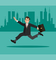 a businessman with a briefcase in his hand is late vector image