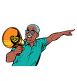 african elderly man with a megaphone vector image vector image