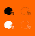 american football helmet black and white set icon vector image vector image