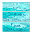 banner hand drawn fish vector image vector image