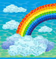 beautiful rainbow and clouds in sky vector image vector image