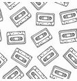 black white cassette cartoon seamless pattern vector image