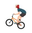 boy bicycle jumper extreme hobor sport cartoon vector image