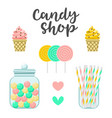 candy shop sweets constructor colorful vector image vector image