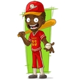 Cartoon smiling baseball player with bat vector image