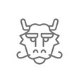 chinese traditional mask dragon face line icon vector image