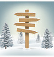 christmas direction wood board sign on snow vector image vector image