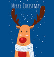 christmas greeting card and cute reindeer vector image vector image