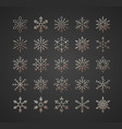 christmas snowflake set gold style vector image vector image