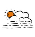 cloud and orange sun sketch hand vector image