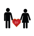 couple with heart red color icon vector image