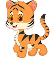 Cute baby tiger posing isolated on white backgroun vector image vector image