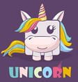 cute cartoon character square unicorn and logo vector image vector image