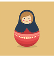 Cute Russian Doll Blue Red vector image